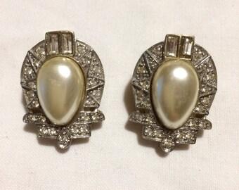 Boucles d'oreilles fausse perle argent et or Vintage