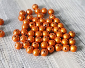 set of 9 pearls Magic 8mm orange
