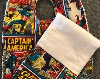 Super Hero Bib and Burp Rag Set