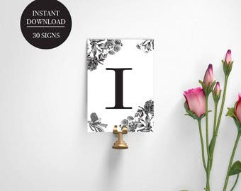 Wedding Table Numbers |  Printable Table Numbers | Digital Download | Event Table Numbers | Botanical Design | VERONICA - Table Numbers