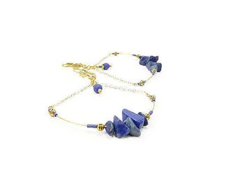 Blue earrings night half hoop earrings gold with gemstones