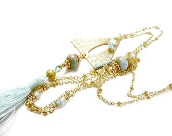 Long romantic necklace gilded with pastel Mint green triangle pendant cool