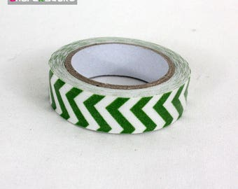masking tape 15 mm Green chevron cotton
