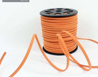 Flat 5 mm orange suede cord, sold by the yard