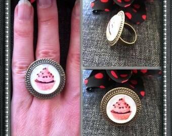 Bronze ring adjustable Cupcake pattern