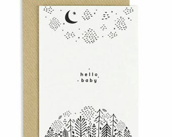 New Baby Card, New Baby Greeting Card, Stary Night, Hand Illustration Baby Greeting Card, Monochrome Card, Black and White New Baby Card