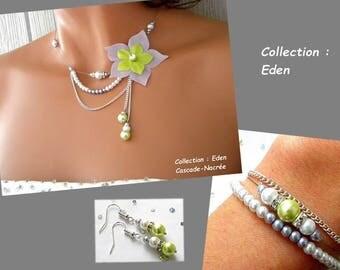 Ornament wedding Eden green lime purple flower silk silver Pearl Bridal