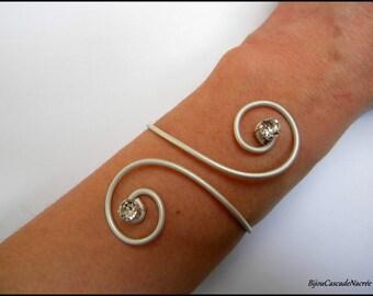 aluminum wedding bridal pearl bracelet ivory rhinestone