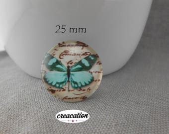 """Glass cabochon, """"Butterfly"""" 25mm, round, blue on beige background"""