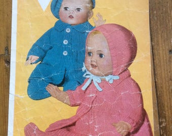 Vintage dolls pattern by Bestway Double Knitting for 12,14 and 16 inch dolls