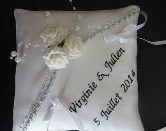 wedding ring cushion black and white embroidered