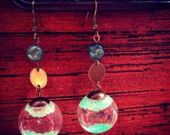 "Bronze tone Earring ""Bubbles"" fairy and unakite"
