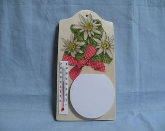 """A Notepad and thermometer """"edelweiss"""" wooden board"""