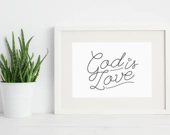 GOD IS LOVE - Minimal christian line art quote download