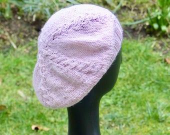 Girl pink alpaca wool beret, knitted beret handmade