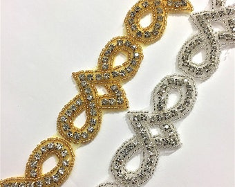 "1"" Crystal Beaded rhinestone trim Gold-Silver #QRGY6805"