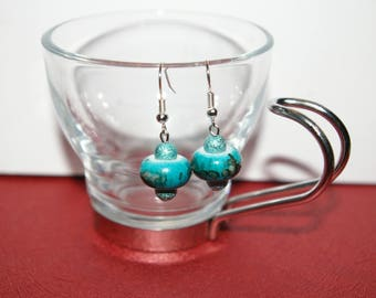 Earrings blue acrylic beads and stardust beads