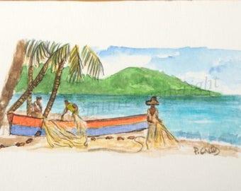 watercolor handles from Arlets Martinique-card-watercolor-watercolor miniature@kreapat fishing Scene