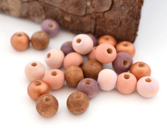 Mix of 25 beads, copper, pink, peach, purple and Brown wood 8 mm round