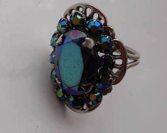 Vintage Silver Tone Marcasite Cluster Goth Adjustable Dazzling Ring