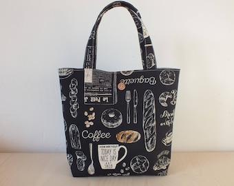 """Handbag pattern """"bakery"""" in black."""