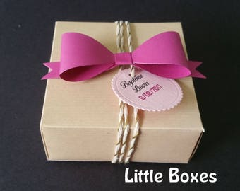 Box dragees square kraft and pink bow