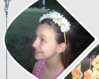 White Daisy Flower Hair Accessory Headband/Wreath