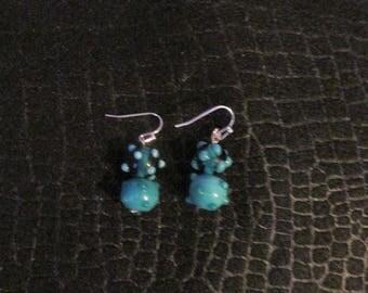 Blue Bead Spotted Earrings