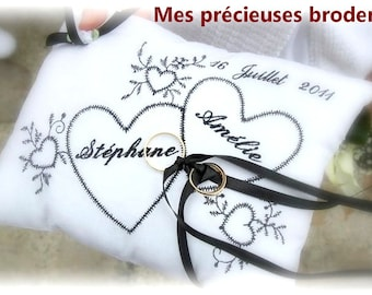 Wedding pillow ring bearer embroidered personalized names date gift