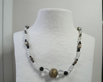 Necklace black, transparent, old gold glass beads