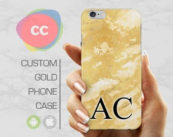 Gold Marble Initials Phone Case / iPhone 5S Case / iPhone 7 Case / iPhone 6S, 5, 5S Case / Samsung Galaxy S8, S7, S6 Case - PC-211