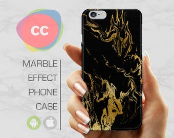 Black Gold Marble - iPhone 8 Case - iPhone 7 Case - iPhone X, iPhone 8 Plus, 7, 6, 6S, 5S, SE Cases - Samsung S8, S7, S6 Cases - PC-329