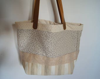 Recycled tote bag, velvet and lace, textile bag