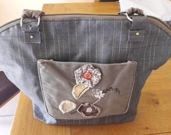 Grey coated cotton tote bag.