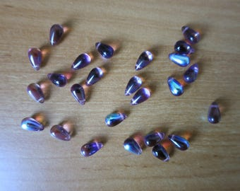 Set of 10 drops in Amethyst AB glass beads