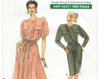 7714 Very Easy Very Vogue - Misses / Miss petite Dress - UNCUT Sewing pattern Sz. 8-10-12