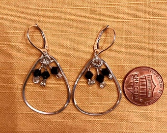 Sterling Silver Black Swarovski Crystal Hoop Earrings