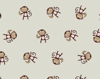 AVALANA AVALANA monkeys cotton jersey fabric khaki grey and Brown x40cm