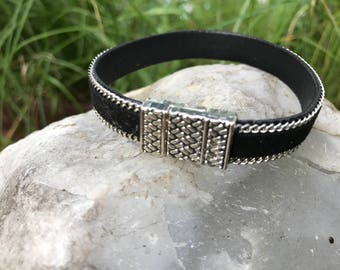 Black and silver 7 inch faux leather bracelet #8