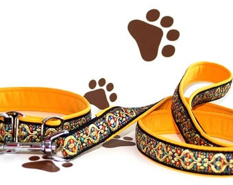 "Dog Collar and Leash Set ""Together"" Special Price Jacquard Ribbon Elegant Accessories"