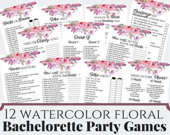 12 Pink Watercolor Floral Bachelorette Party Games, Printable Bachelorette Party Game, Bridal Shower Game, Hens Night Game