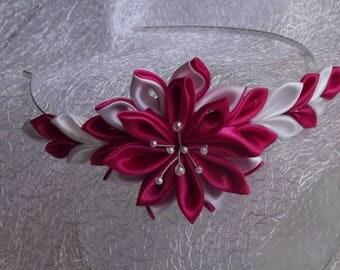 headband fuchsia and white and kansashi flower