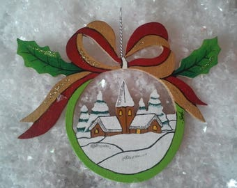 """Snowy village"" Christmas ball ornament"