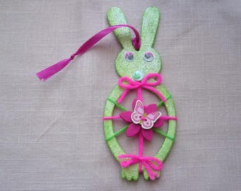 For spring or Easter figurine handmade hanging green glitter