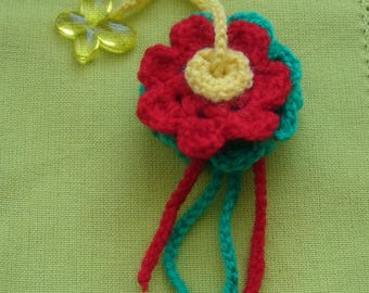 Keychain or bag charm handmade crochet - two flowers wool red, green and Yellow - Yellow Butterfly