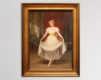 Belle Of The Ball - Original Antique Oil Painting