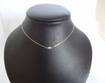 Pink Rhinestone necklace in 925 sterling silver
