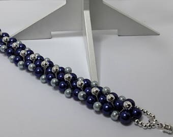 Bracelet beads Navy Blue and light blue