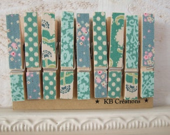 9 MINI clothespins decorated linen (No. 59) Tilda Green