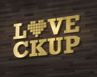 Photorealistic  Mock-up logo Design - 3D Gold